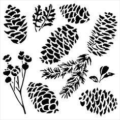 TCW Crafters Workshop 6 in Stencil Mask Template Mini PINECONES Fall, Pine Branch, Leaves  Mixed Media New for 2015 by SeptemberPlayground on Etsy