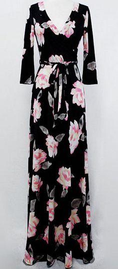Black Rose-Print Maxi Dress