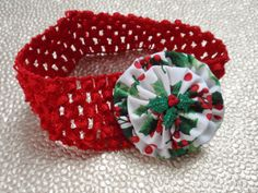 Christmas Red Crochet Children's Headband with Red & by SursyShop, $5.00