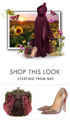 """""""Kansas...the Sunflower State"""" by eilselrenrag ❤ liked on Polyvore featuring Elie Saab and Christian Louboutin"""