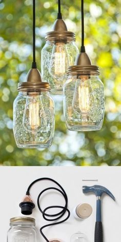 Mason jar crafts are infinite. Mason jars are usually used for decorators, wedding gifts, gardening ideas, storage and other creative crafts. Here are some Awesome DIY Mason Jar Crafts & Projects that can help you reuse old Mason Jars for decoration Mason Jar Projects, Mason Jar Crafts, Mason Jar Diy, Mason Jar Lamp, Bottle Crafts, Pots Mason, Kilner Jars, Mason Jar Lanterns, Candle Jars