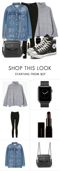 """Untitled #5304"" by beatrizvilar on Polyvore featuring Topshop, Illamasqua, MANGO, Fendi and Converse"