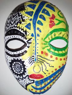 """Split Personality"" mask - 3D papier mache -paint, markers and glitter glue"