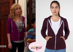 Sam Puckett (Jennette McCurdy) wears thisAmerican Apparel Unisex Salt and Pepper Zip Hoodie in Brushed Pepperred Cranberry Purple in this eepisode of Sam & Cat, #Twinfection.