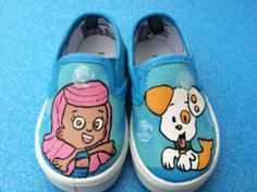 custom kids painted shoes/ baby shoes/ toddler shoes/ bubble guppies shoes on Etsy, $40.00