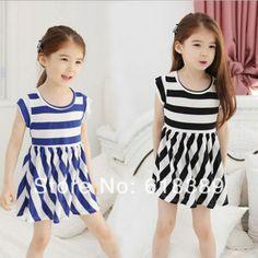 2014 Hot Sale Preppy Style Stripe Color Block Half Sleeve Slim Hip One-piece Dress  girl's Dress 5pcs/ lot wholesale $33.52