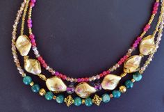 Beaded Necklace three strands gemstones and LAMPWORK by LKArtChic