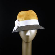 New Fedora Hat for Women 1940's Fashion Hat Parasisal Straw Hat in Black Gold and White  $245.00