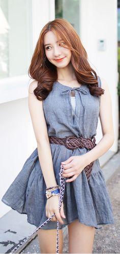 Luxe Asian Korean Women Fashion Linen Holic Charcoal Dress