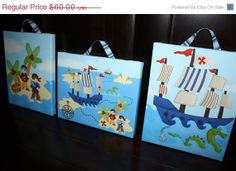 SALE Set of 3 Pirates and Sea Monster Boys Bedroom by ToadAndLily, $51.00