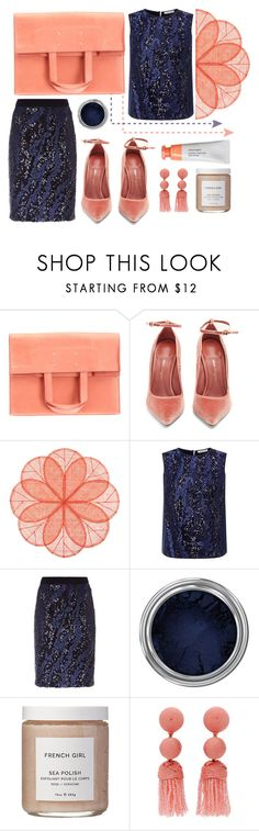 """Navy + Coral"" by cherieaustin on Polyvore featuring Maison Margiela, Salvatore Ferragamo, Deborah Rhodes, Fenn Wright Manson, Concrete Minerals and French Girl"