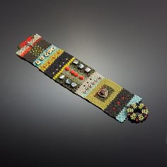 Sean Scully Cuff #1 by Julie Powell: One of a Kind Beaded Bracelet available at www.artfulhome.com