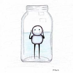25 ilustrações simples mas com significados super profundos - Fatos Desconhecidos Sad Sketches, Sad Drawings, Pencil Art Drawings, Drowning Art, Painting & Drawing, Sad Art, Simple Doodles, Arte Horror, Simple Art