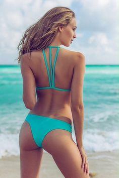 Solid Teal Blue Strappy Bikini Set Size Small S Plumeria Swimwear Cute Teen Swim #PlumeriaSwimwear #Bikini