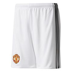 Manchester United adidas 2017/18 Home Replica Shorts - White/Black - $44.99