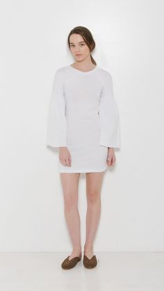 MM6 Maison Martin Margiela Jersey Dress in White | The Dreslyn