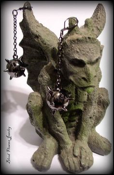 MORNING STAR Gunmetal Medieval Mace Gothic Drop Earrings by Blood Flowers Jewelry