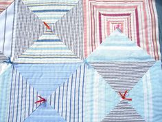 patchwork cushion from old shirts