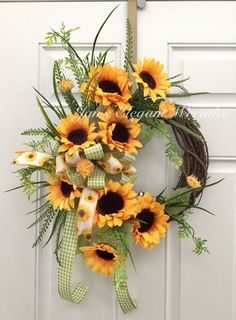 A personal favorite from my Etsy shop https://www.etsy.com/listing/533479018/summer-wreath-sunflower-wreath-summer