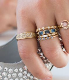 Triple Blockette Blue Sapphire Ring - Audry Rose
