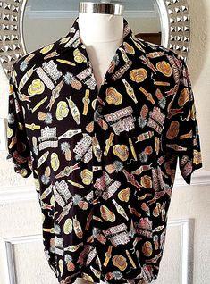 d82709e2 Reyn Spooner Men's Hawaiian Shirt Size M Vintage Havana Cigars Mambo Black  Cuba