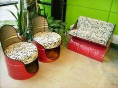 55 Gallon Metal Drum Project Ideas – page 2 Diy Outdoor Furniture, Recycled Furniture, Diy Furniture, Barrel Furniture, 55 Gallon Drum, Metal Barrel, Oil Barrel, Metal Drum, Diy Recycle
