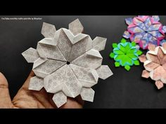 Origami Wall Art, Origami And Kirigami, Fabric Origami, Paper Crafts Origami, Origami Stars, Diy Paper, Fabric Crafts, Quilted Christmas Ornaments, Christmas Origami