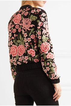 Needle & Thread - Embroidered Embellished Crepe Bomber Jacket - Black - UK