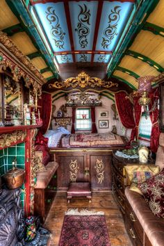 Interior view of a Gypsy owned, Horse-Drawn Caravan built sometime in the mid 1800's. : picturesinhistory - fb