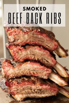 Juicy and tender, smoked beef back ribs are a BBQ bucket list, must-try item. Beef back ribs are best smoked low and slow until they melt in your mouth. Smoked Beef Back Ribs, Bbq Beef Ribs, Smoked Beef Ribs Recipe, Grilled Beef Ribs, Bbq Meat, Smoked Meat Recipes, Rib Recipes, Steak Recipes, Pizza Recipes