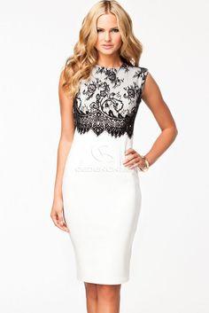 White Black Lace Overlay Sleeveless Midi Dress #vintageweddingdresses #vintagepromdresses #vintagebridesmaiddresses #vintagelaceweddingdresses