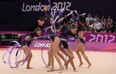 The Great Britain team competes during the Rythmic Gymnastics Group All-Around competition