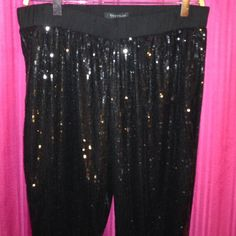 WhiteHouseBlack Market black sequin pants New without tags m. Regular. Scrunched at bottom. Sequin. Stretch. White House Black Market Pants Leggings