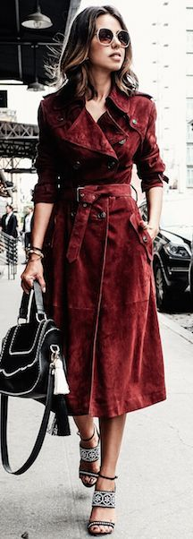 Burgundy Suede Coat Fall Streestyle Inspo #Fashionistas