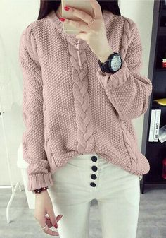 This pretty pink cable knit sweater is made of unlined, stretchable material and has crew neckline and classic braided knit detailing. Hand Knitted Sweaters, Sweater Knitting Patterns, Knit Fashion, Sweater Fashion, Winter Sweaters, Sweater Weather, Reindeer Sweater, Nursing Clothes, Mode Hijab