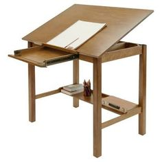 Wonderful Drafting Table With Front Opening Drawer And Set Back Rear Strecher