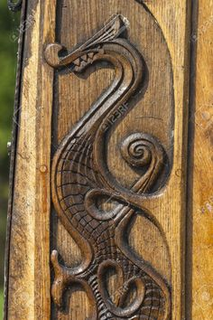 Wood Carving Of A Dragon On A Viking Boat Stock Photo, Picture And Royalty Free Image. Image 13983906.