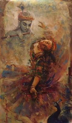 Dance with Krishna by Ranjit Sarkar Krishna Statue, Krishna Art, Radhe Krishna, Krishna Drawing, Krishna Painting, Lord Ganesha Paintings, Ganesha Art, Dance Paintings, Indian Art Paintings
