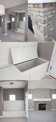 """Benjamin Moore Stormy Monday,,,,love it all......so many """"natural neutrals""""...looks like river rocks all over with crisp whites and then your warm wood floor and ceiling---great bench template too---take this to carpenter :)"""