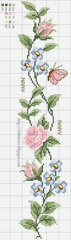 Floral vine cross stitch