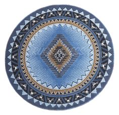 Rugs 4 Less Collection Southwest Native American Indian Round Area Rug  Design R4L 143 Light Blue