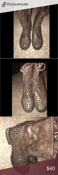Breckelle's Brown Spiked Combat Boots These are silver spiked combat boots. These boots have never been worn and were purchased in the year or 2014. These shoes are in a great condition. Unfortunately, they do not come with the original box. These shoes belong to the brand Breckelle's. Breckelles Shoes Combat & Moto Boots