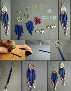 DIY Tidal Earrings How to, Learn to make these colorful earrings at http://www.ninadesigns.com/jewelry_design_ideas/cloudburst_necklace.html Materials on sale too!