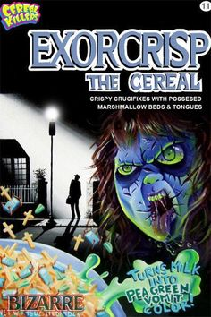 Cereal Killers Horror themed cereal box art by Joe Simko Exorcrisp: The Cereal