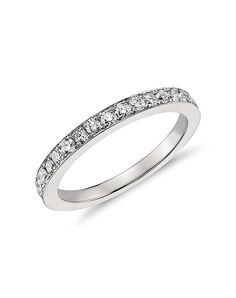 Blue Nile Riviera Pave Milgrain Diamond Ring in 14k White Gold (1/4 ct. tw.) VLXP5xWhB