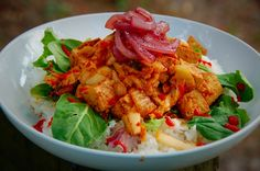 Korean Tofu Vegan Kimchi Pickled Onion Spicy Sweet Funky cuisine food meals