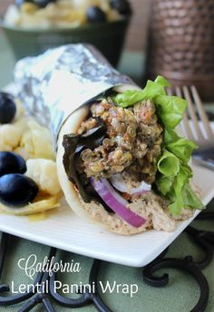 California Lentil Panini Wrap is enticement with a twist. The patties are cooked in a panini press before being assembled as a wrap or sandwich. You deserve a great meal! ~ http://veganinthefreezer.com
