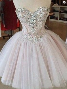 New Mini Ball Gown Homecoming dresses 2016 Beaded Above Knee Evening Dresses Sleeveless Sweetheart Prom Gowns formal dresses
