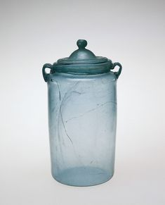 Cinerary Urn with Lid, Rhineland, Germany, Roman Empire, Corning Glass, Corning Museum Of Glass, Glass Transition, Art Of Glass, Jar Lids, Concave, Roman Empire, Urn, Industrial Design