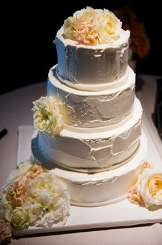 White-Buttercream-Wedding-Cake-with-Flowers